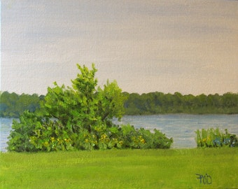 Oil painting, landscape, summer painting, 8x10