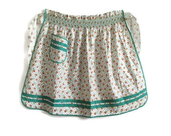 Apron Smocking Teal Calico Print 1940's Vintage Still New