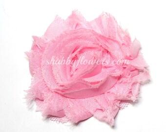 LIGHT PINK Shabby Flowers - Wholesale Shabby Flowers - chiffon rose flower trim
