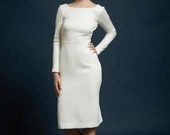 Size 6 sample for sale! Jeanne dress, soft basketweave heavy silk,