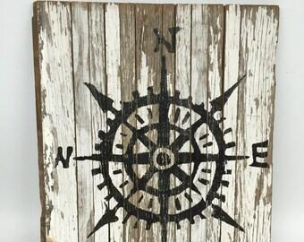 Compass, Compass Sign, Beach Wall Decor, Coastal Wall Decor, Nautical Sign, Cottage Chic Decor