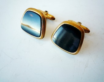 Vintage Cufflinks Cuff Links Black and Goldtone, SALE