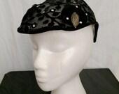 Vintage 1950s Fishnet Head Hugger Hat  with Beadwork, Velvet, Rhinestones and Beaded Leaves