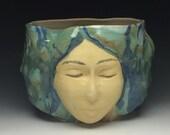 Face pot planter vase sculpture vessel bowl head art pottery blue drip glaze