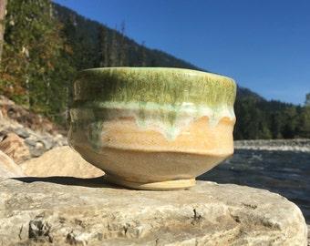 Ceramic tea bowl chawan macha vessel stoneware cup pottery glazed light yellow green drips
