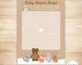 Woodland Baby Shower Bingo Cards - DIGITAL INSTANT DOWNLOAD - Winter Woodland Baby Shower Game - Forest Animals Baby Shower Game