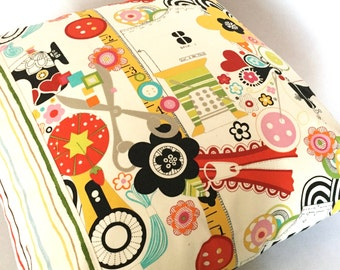 """the sewing room-20"""" x 20"""" decorative throw pillow cotton print quilted"""