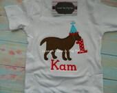Boys Dog Birthday Shirt Birthday Dog Applique Shirt for a Boy or Girl