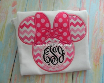 Pink Chevron Pink Polka Minnie Mouse Monogram Shirt