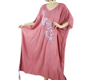 Bohemian Handmade Crochet Trim & Tassel V Neck Dark Rose Pink Light Cotton Kaftan Dress With Hand-Embroidered Peacock Women Oversize Dress
