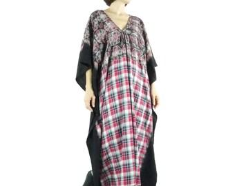 One Of A Kind - Boho Grunge Lace Printed Black Tie Dye Dye Red Plaid Cotton Kaftan Dress Poncho Dress Women Tops Maxi Dress