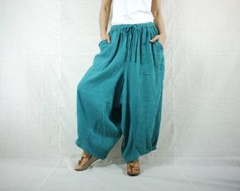 Boho Funky Comfy Harem Unisex Asymmetrical Hem Teal Cotton Pants With 6 pockets Freesize Fit Form Size8 To18 - SM700