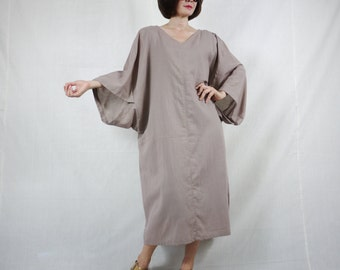 Boho Casual Elegant Plus Size 3/4 Sleeve Drop Shoulder V Neck Azo Free Color Taupe Light Cotton Dress With Lining - SM688