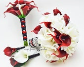 Reserved - Bridal Bouquet Roses Calla Lily Red Black White Bridesmaid Bouquet Calla Lilies Groom Groomsman Boutonniere Bridesmaid Bouquet