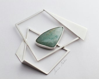Amazonite brooch geometrical pin sterling silver triangle contemporary brooch