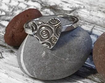 Handmade Silver swirl heart ring - Valentine's Gift