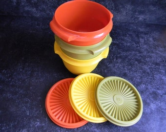 Back to school Vintage Tupperware containers Harvest colors with lids