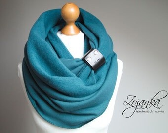TEAL infinity scarf, EXTRA CHUNKY Infinity Scarf with leather cuff, teal infinity scarf, cozy snood, winter scarf, gift ideas, hooded
