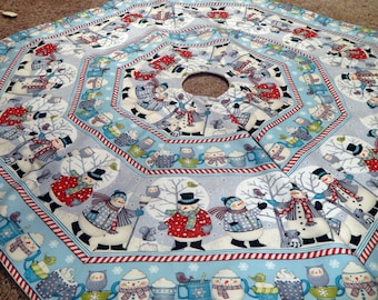LARGE Octagon Bundled Up Snowman Christmas Holiday Tree Skirt IN STOCK
