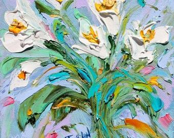 Tulip white Flowers painting original oil 6x6 palette knife impressionism on canvas fine art by Karen Tarlton