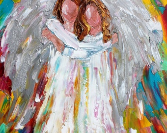 Angel Friends painting original oil abstract impressionism fine art impasto on canvas by Karen Tarlton