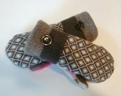Brown and pink, brown diamonds, tweed, recycled sweaters, women's mittens, fleece lined mittens, etsy sweater mittens