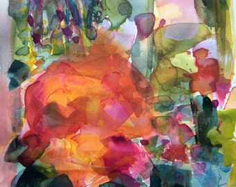 Market Flowers no. 3 Original Floral Landscape Watercolor Painting by Angela Moulton 8 x 10 inch with 11 x 14 inch mat