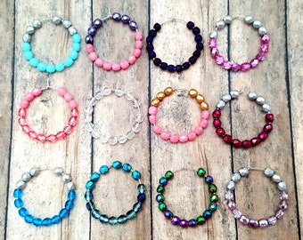 Small Beaded Hoops, Wedding Earrings, Pastel Bead Hoops, Beaded Hoop Earrings, Dainty Hoop Earrings, Cool Hoop Earrings, Teen Girl Earrings