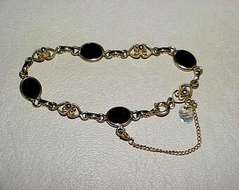 Vintage Burt Cassell  12K Gold Filled Onyx Bracelet