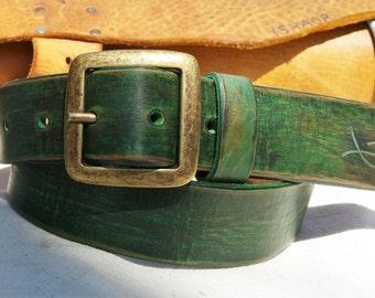 Green Belt, Green Leather, Men's Belt, Wide Belt,  Leather Belt, Buckle Belt, Unisex Belt, Colorful Leather, Art Leather, Men's Leather