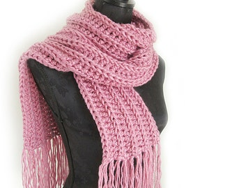 Pink Crochet Scarf - Pink Knit Scarves with Fringe - Extra Long Pink Knit Scarf - Pink Winter Scarf