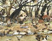 Art Print Original Watercolor Painting 100 Geese