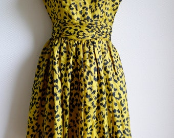 Yvan & Marzia 80s leopard print silk dress