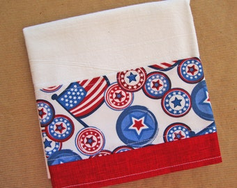 PATRIOTIC Flour Sack Towel - Independence Day Decor - Kitchen Dish Towel - Lint Free Tea Towels - Fabric Trimmed Towel - Fourth of July