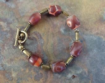 Trade bead bracelet, Vintage, Ethnic agate protection eyebead bracelet, Vintage African Bead Bracelet,  Tribal Bracelet