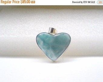 ON SALE Larimar Jewelry Love Larimar pendant Heart set in Sterling Silver 925 perfect for Mothers day gifts for her