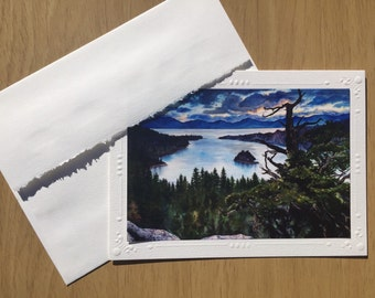 Artist Christie Marie Elder, Set of 5 Art Print Cards, Lake Tahoe, Emerald Bay, blank embossed Greeting Cards, Note Card Framable art card