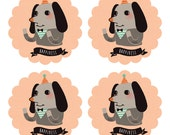 """50% OFF Set of 20 Happiness Dog - 2"""" Round Stickers - Illustration Stickers, Product Stickers, Wedding Stickers, Envelope Seals, Gift Tag"""
