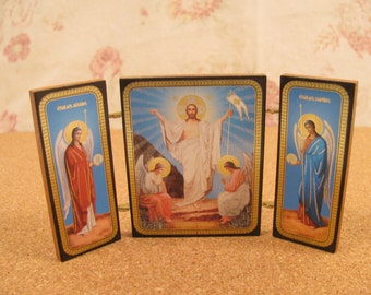 Vintage Russian Folding Triptych Religious Icons - Wood with Brass Hinges - Mid Century