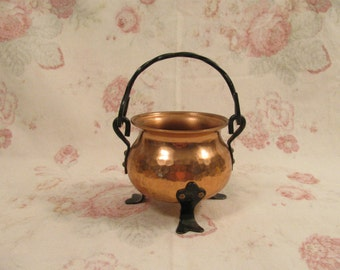 Handmade Hammered Copper Miniature Kettle - Wrought Iron Handle and Feet