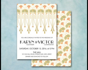 Art Deco Invitation / Art Nouveau / Gold Coral Green / RSVP & Thank You Card / Theme Party, Gatsby Wedding, Birthday Anniversary Engagement