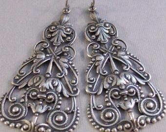 Boho Chic,Silver Earrings,Antique,Vintage Style,Wedding,Bride,Antique Earrings,Boho,Hamsa,Boho Earring,Hoop Earring.valleygirldesign