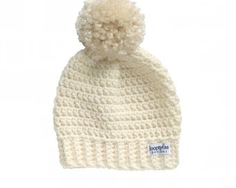 Crochet Slouch Beanie with Pom Pom | Sizes 6 Months up to 4+ years | Baby Boy Hat, Baby Girl Hat, Cream hat