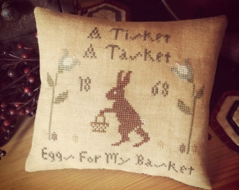 A Tisket, A Tasket, Finished Primitive, Cross Stitch mini pillow tuck