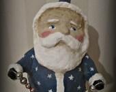 Patriotic Santa Claus - paper mache - folk art -hand made doll - Christmas