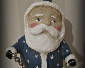 Patriotic Santa Claus - paper mache - folk art -hand made doll - Christmas