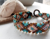 Diamonds and Cubes Bracelet - Southwest Turquoise Sante Fe Copper Diamondback Snake Design