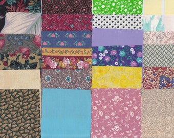 Fabric Precut 3 Inch Square Pieces - 34 Cotton Material 4 Charm Quilting - Scrapbooking - Mini Projects - Variety Pack B 32