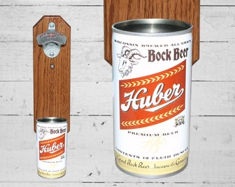 Father's Day Gift Huber Bottle Opener with Vintage Wall Mount Bock Beer Can Cap Catcher