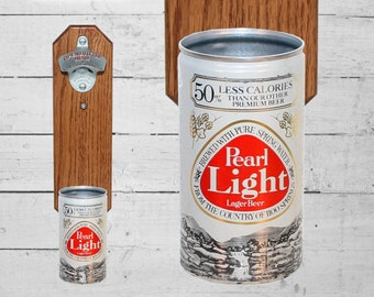Pearl Wall Mounted Bottle Opener with Vintage Beer Can Cap Catcher - Great Gift for Groomsmen Guy Barware Man Cave